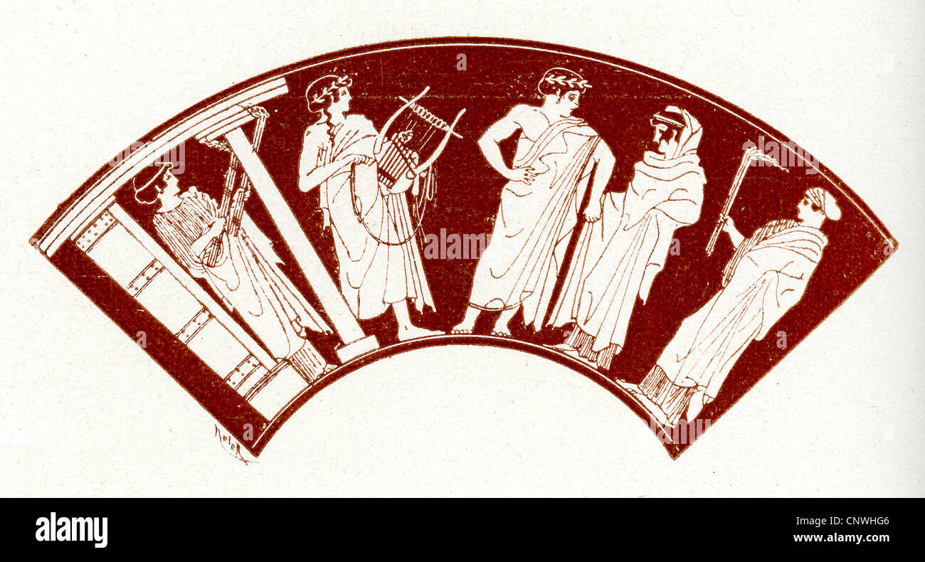 A group of ancient Greek musicians playing music at a wedding - Stock Image
