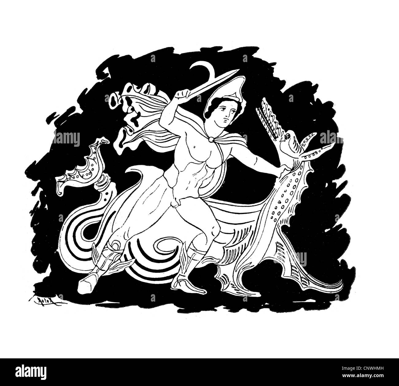 An ancient Greek hero slaying a dragon or worm - Stock Image
