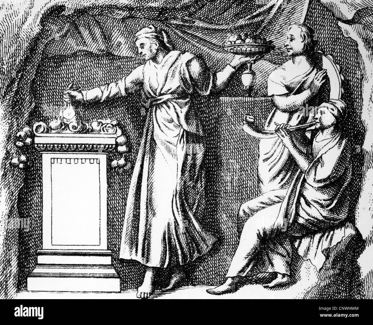 ancient world, Roman Empire, religion, Cybele cult, offering, copper engraving, 1757, Artist's Copyright has - Stock Image