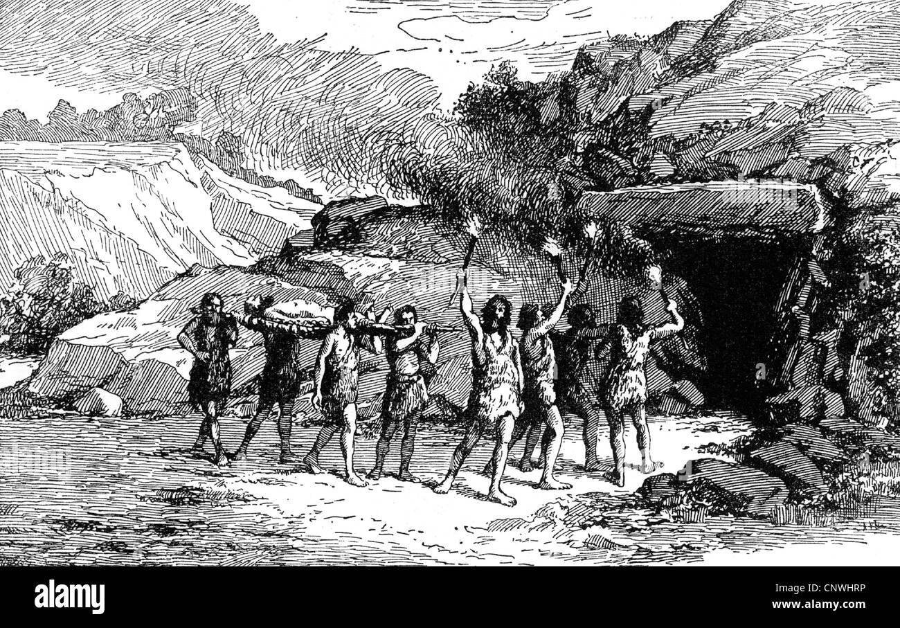antiquity / Prehistory, funeral in the Neolithic, at the entrance of a passage tomb, undertaking, death, dead body, - Stock Image