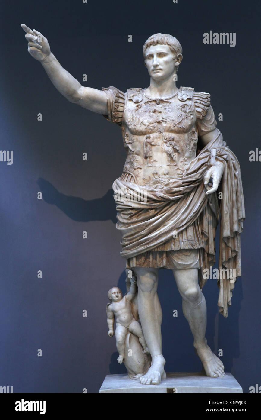 Augustus of Prima Porta (Augusto di Prima Porta) on display in the Museo Chiaramonti (Braccio Nuovo) in the Vatican - Stock Image