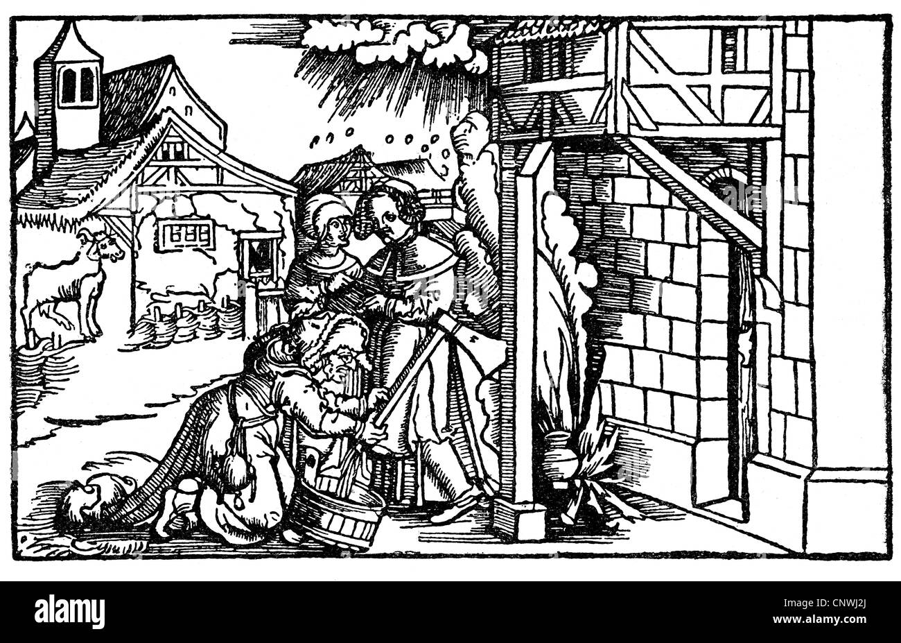 witches, witch milking an axe pole, woodcut, 1551,  Additional-Rights-Clearences-NA