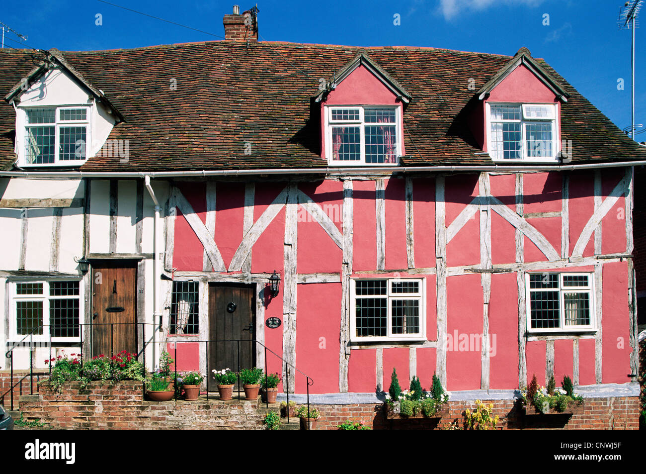 England, Constable Country, Suffolk, Lavenham, Timbered Houses - Stock Image