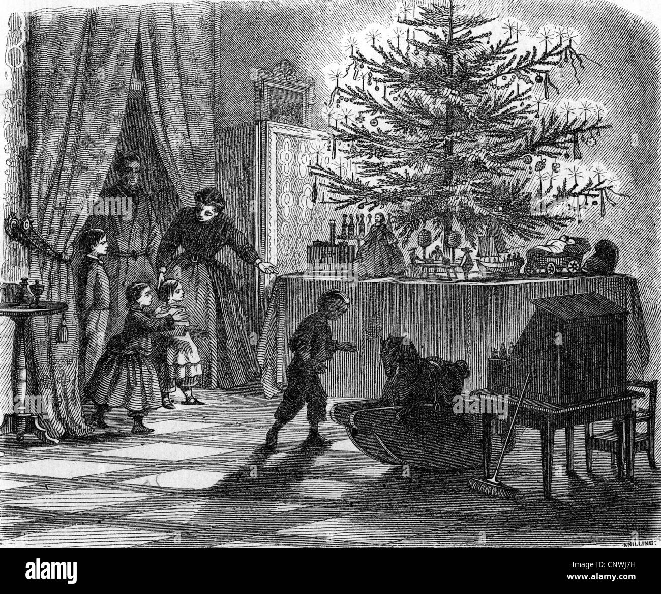 Christmas Eve, family gift giving, wood engraving, circa 1900 Stock ...