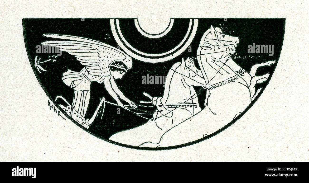 A winged figure riding a chariot, done in a classical Greek style Stock Photo