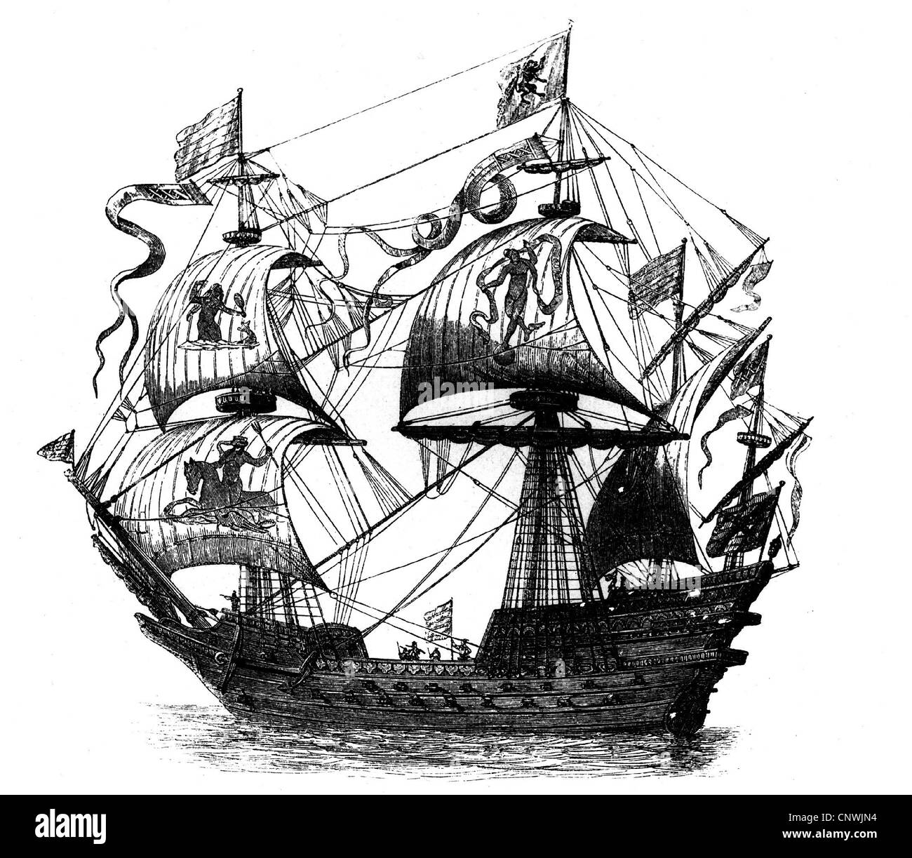transport / transportation, war ships, Spanish galleon, copper engraving by Vischen after drawing by Wilhelm Barendez, - Stock Image