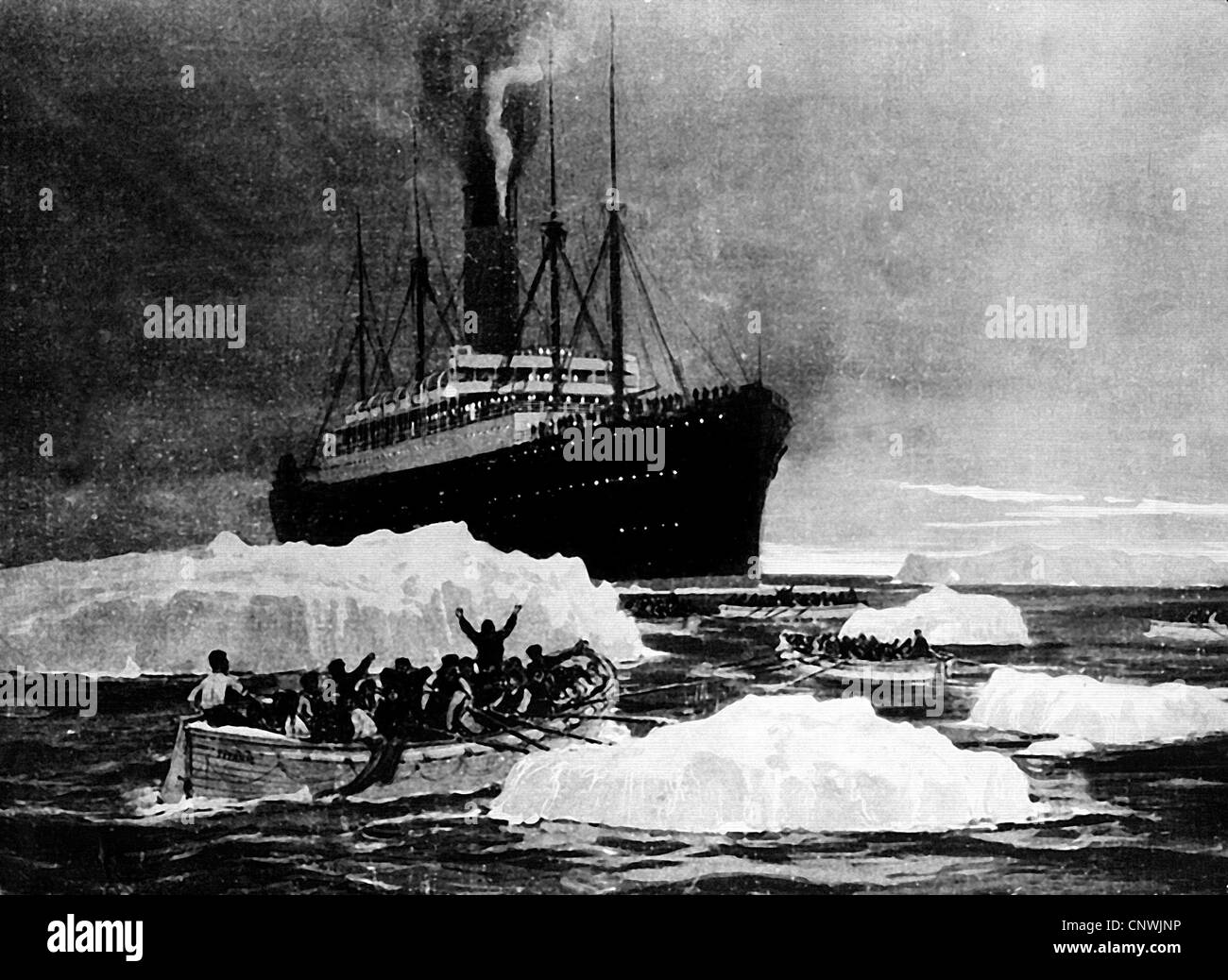 transport / transportation, navigation, Titanic, rescue of the survivors by the 'RMS Carpathia', 15.4.1912, - Stock Image
