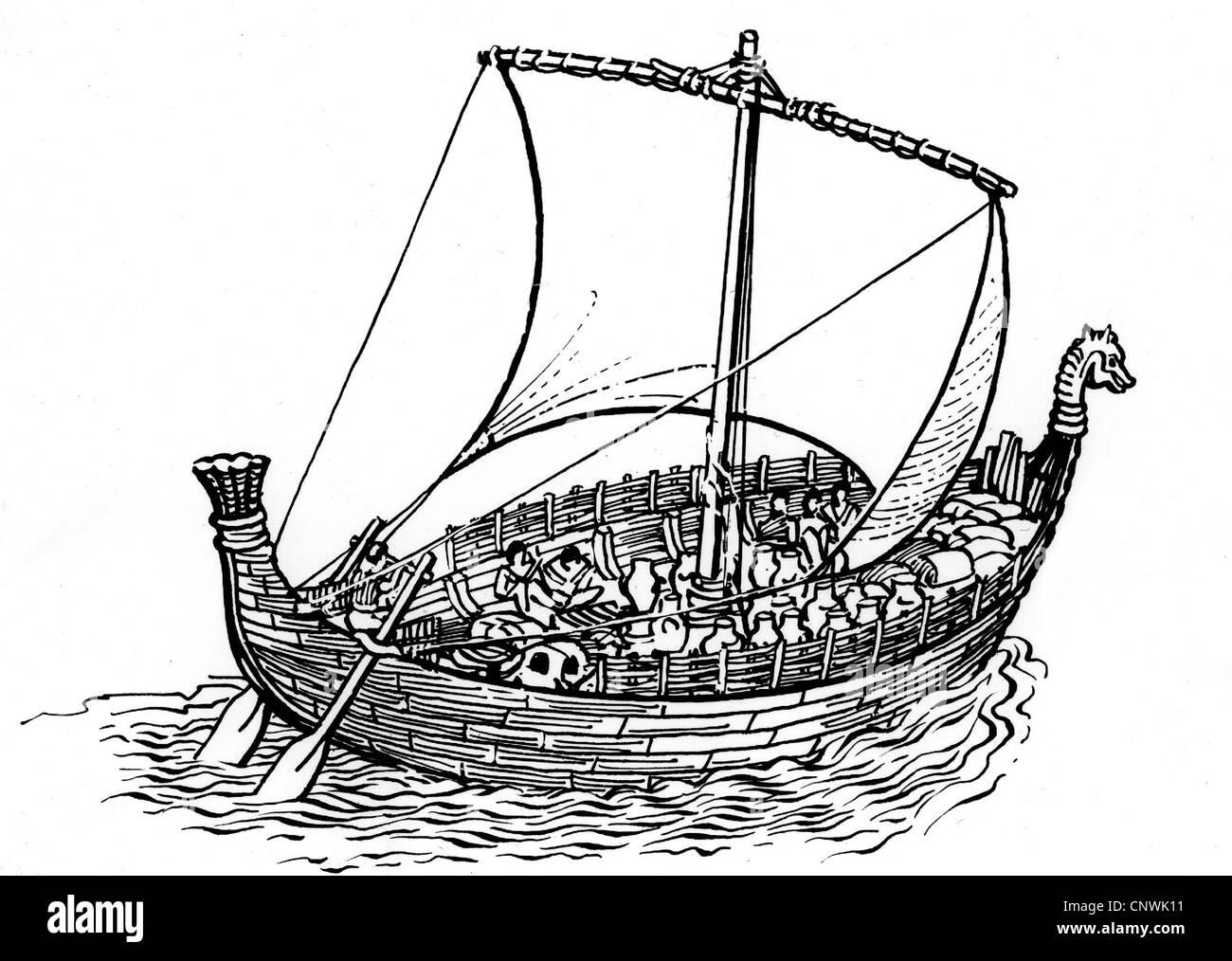 transport / transportation, ancient world, Phoenician merchant ship, reconstruction, 19th century, drawing, dragonboat, - Stock Image