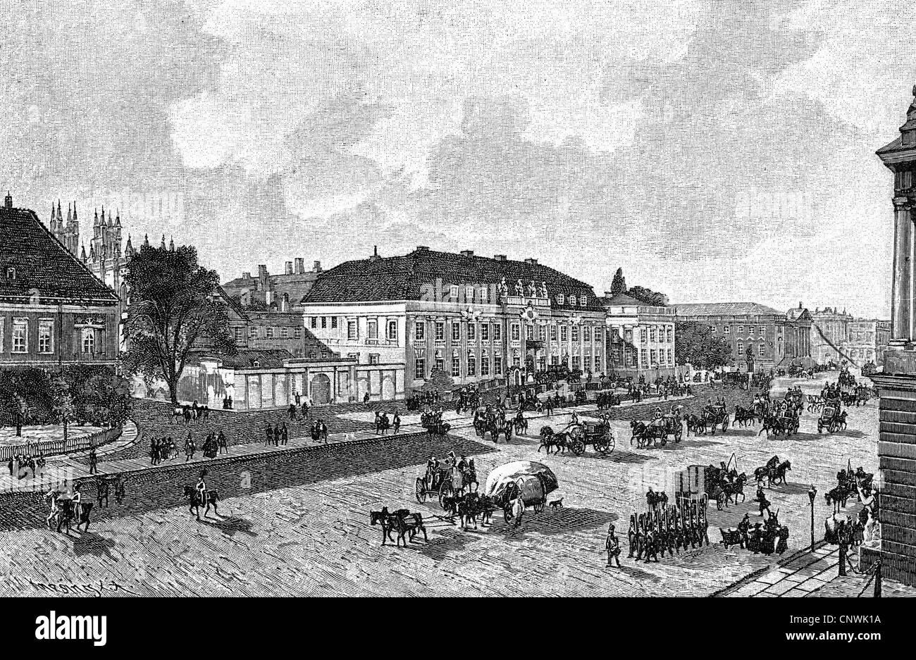 geography / travel, Germany, Berlin, royal palace (emperor palace), Zeughausplatz (armoury square), circa 1830, - Stock Image