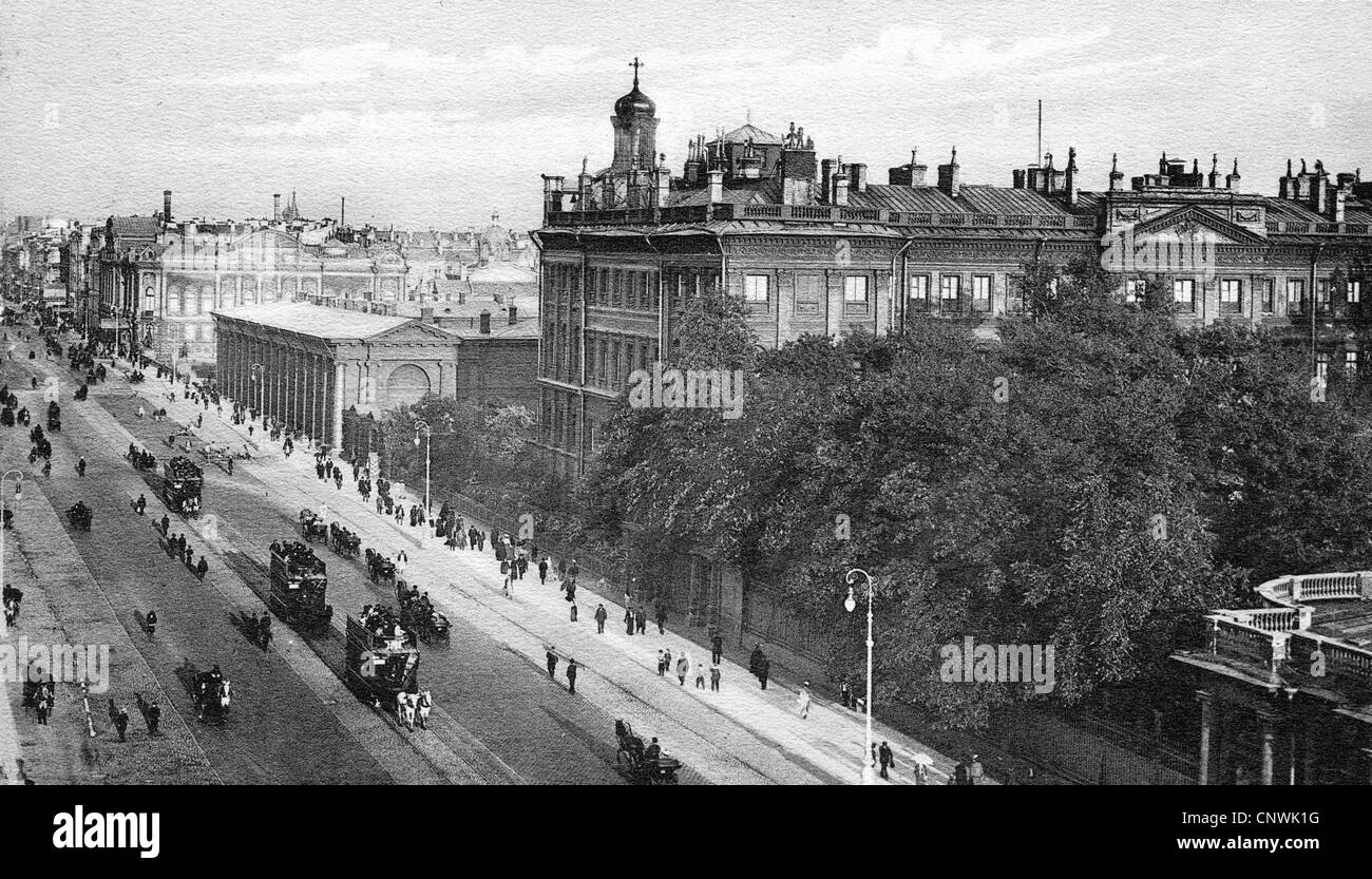 geography / travel, Russia, Saint Petersburg, streets, Nevsky Prospekt with Palais Antishkov, picture postcard, - Stock Image