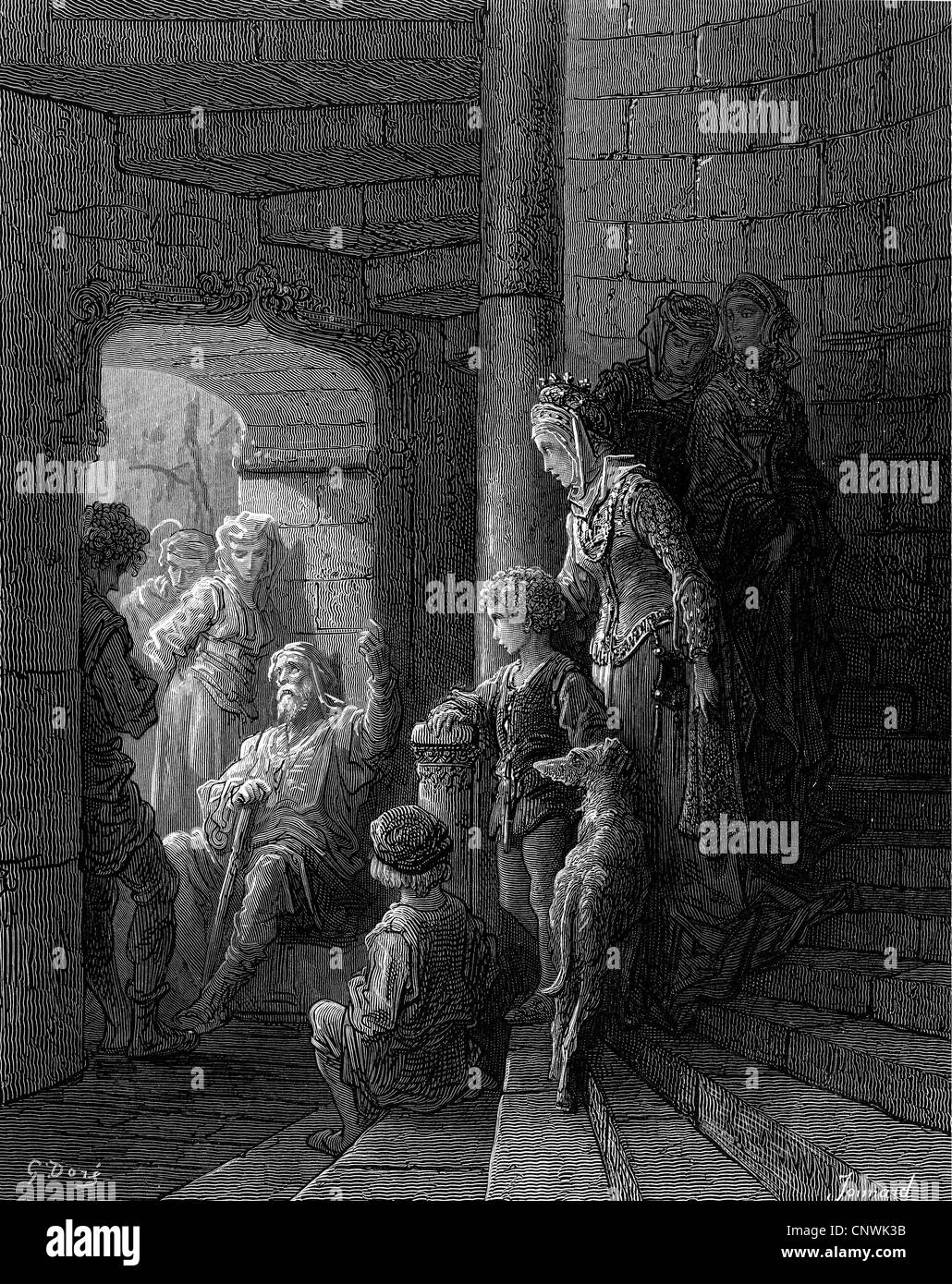 Middle Ages, crusades, a veteran from the Holy Land, wood engraving by Jonnard after drawing by Gustav Dore, to: - Stock Image