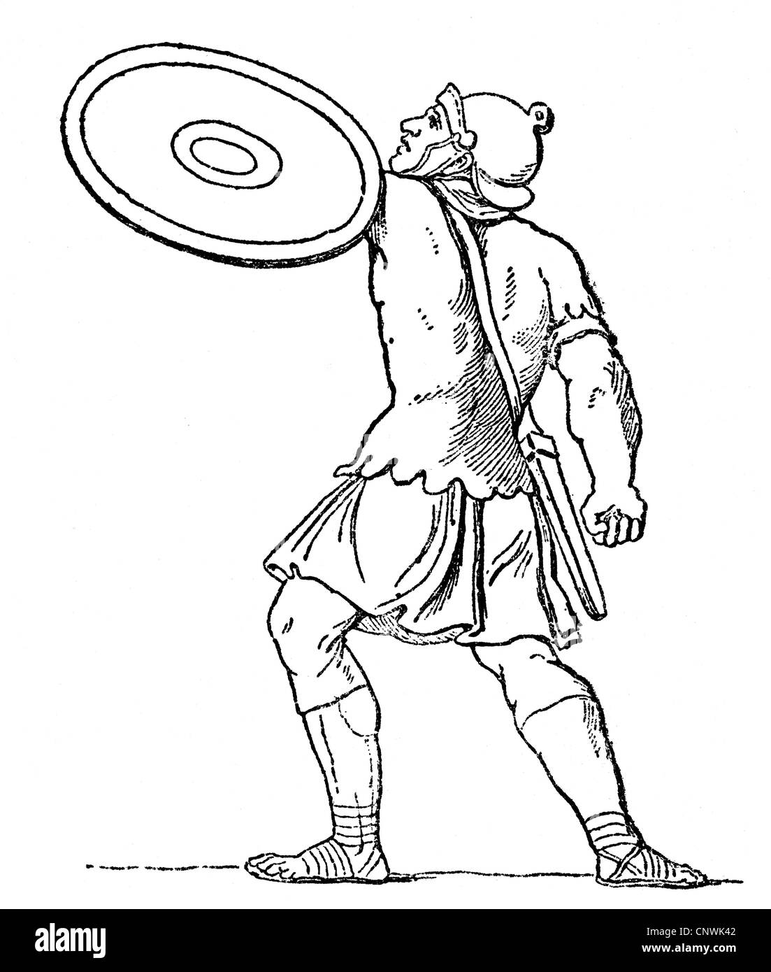 military, ancient world, Roman Empire, Roman soldier, wood engraving, 19th century, after an ancient depiction, - Stock Image
