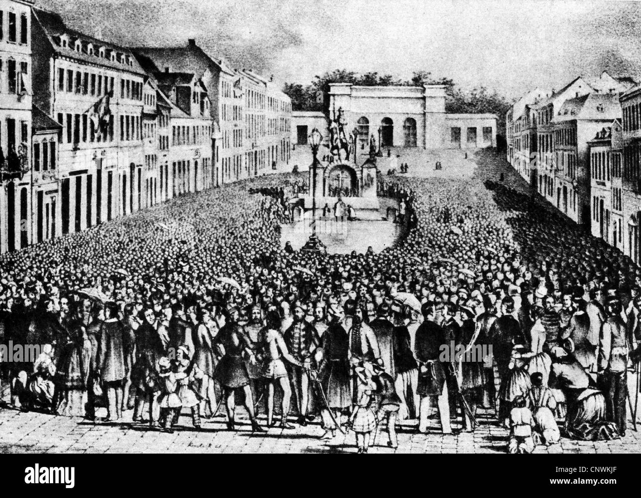 events, revolutions of 1848/1849, Prague Slavic Congress, 1848, people from different Slav populations gather for - Stock Image