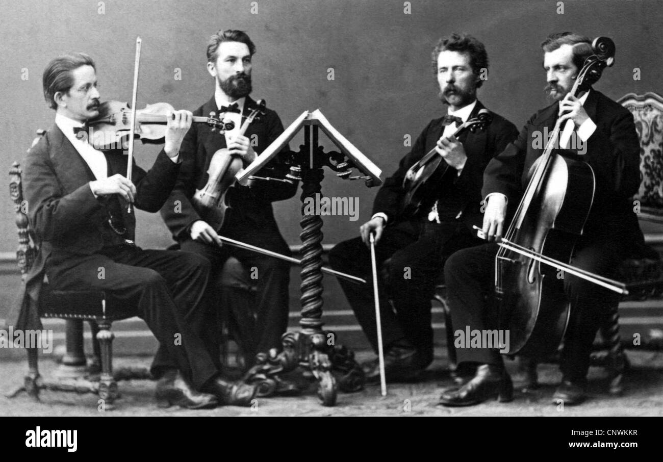 music, bowed instruments, string quartet, carte-de-visite, Munich, circa 1880, Additional-Rights-Clearences-NA - Stock Image