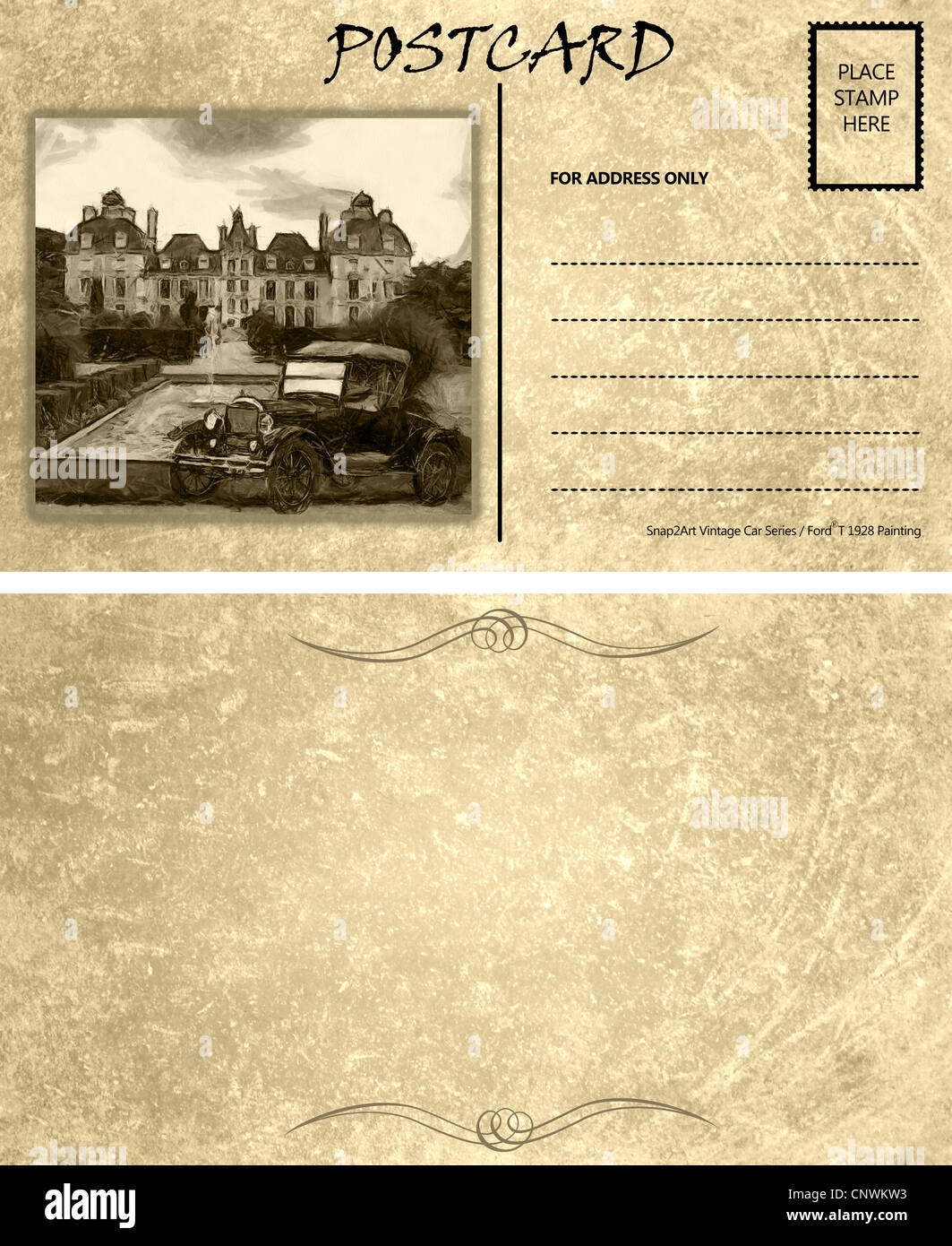 Vintage Motor Car Stained Postcard Template With Copy Area Front - Postcard front and back template