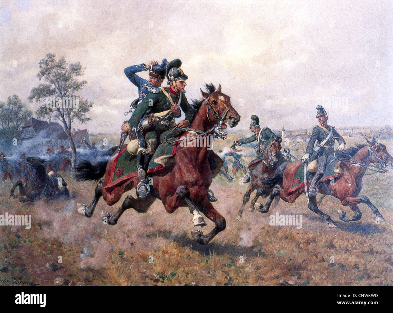 events, Franco-Prussian War 1870 - 1871, skirmish at Sturzelbronn, 1.8.1870, the Bavarian cheveu-leger Hermann Weinacht - Stock Image