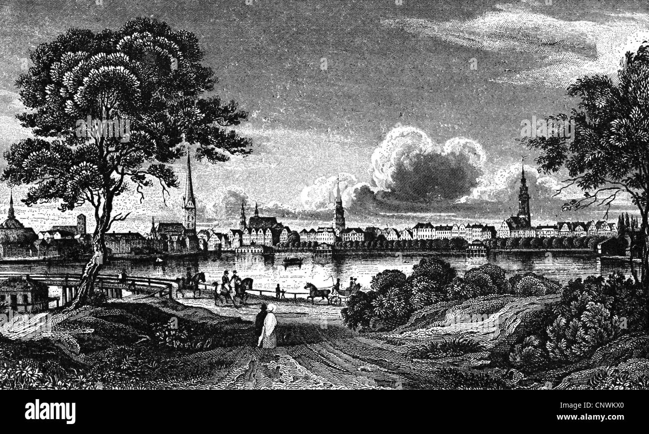 geography/travel, Germany, Hamburg, Alster, Binnenalster and Lombardsbruecke, copper engraving, 1832, Artist's Copyright Stock Photo