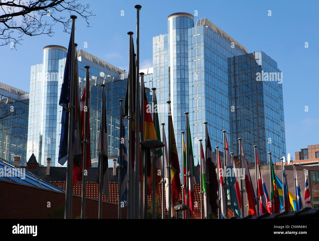Flags of the member states of the European Union in front of the European Parliament building in Brussels, Belgium. - Stock Image