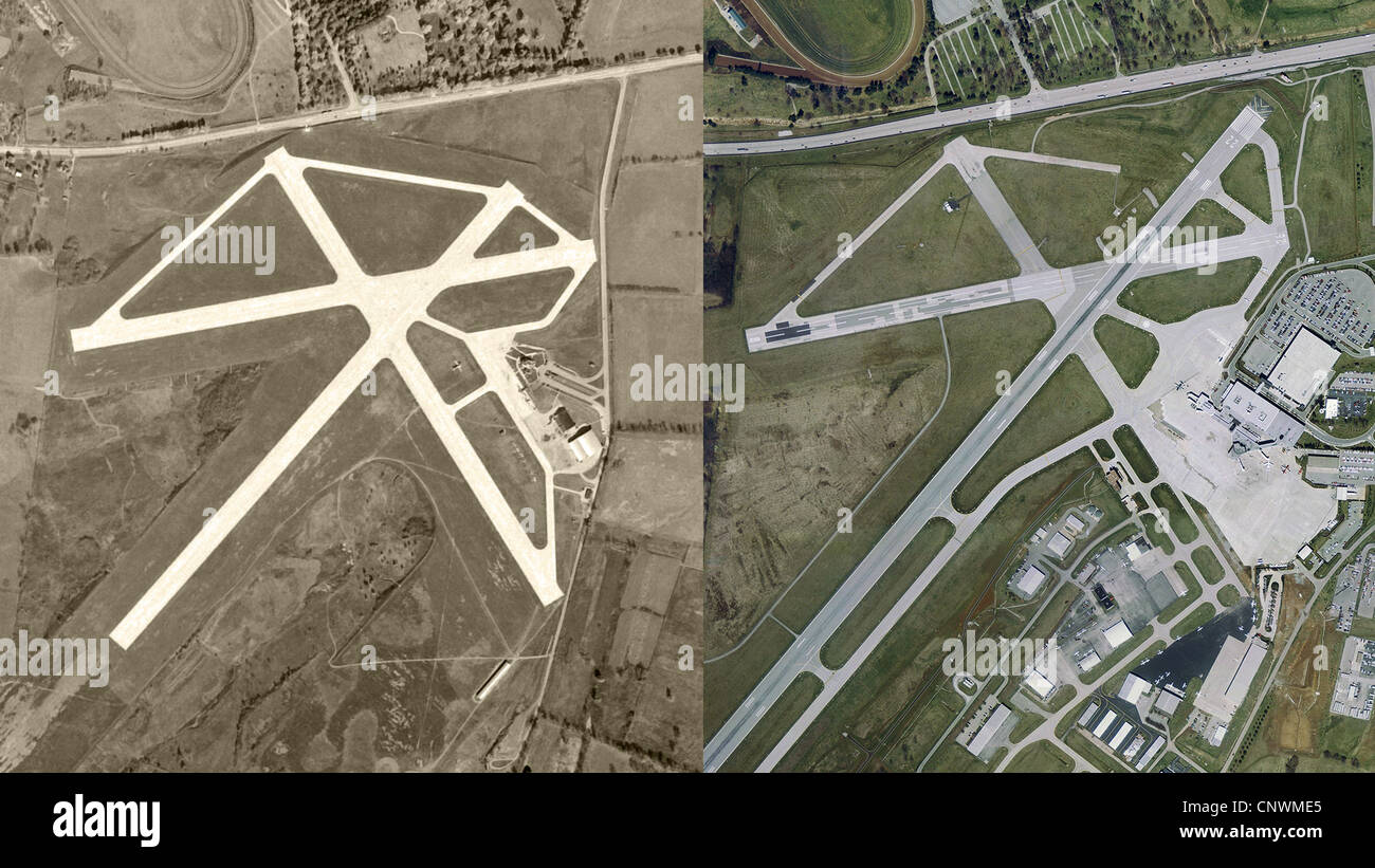 historical aerial photograph then and now comparison Blue Grass Airport, Kentucky 1949-2002 - Stock Image
