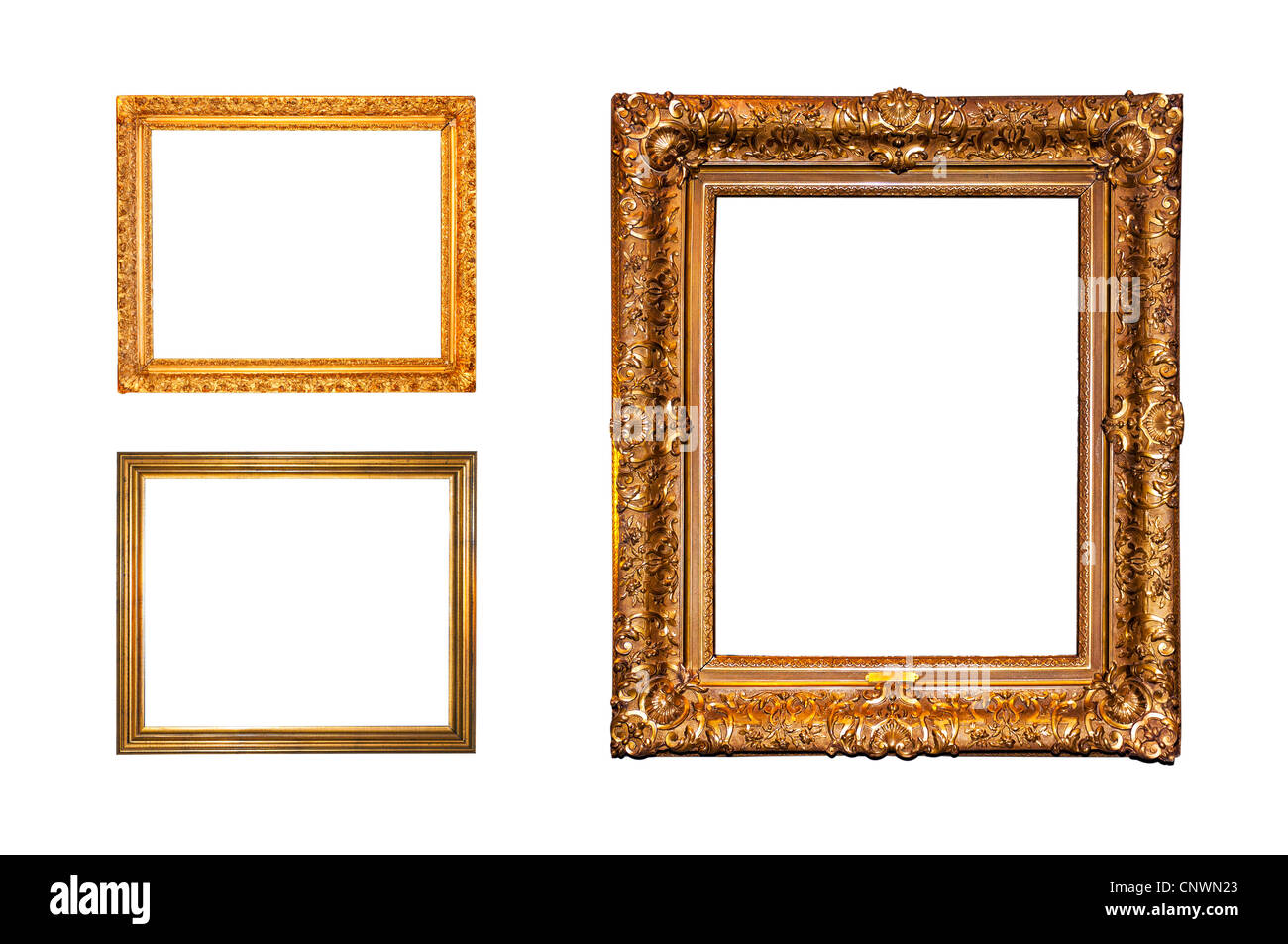 Old ornate golden frames isolated on a white background Stock Photo ...