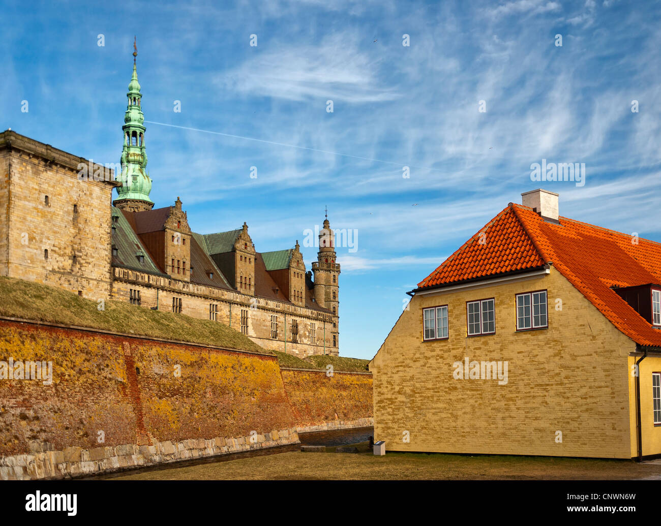 The renaissance Kronberg castle situated in the Danish town of Helsingor. - Stock Image