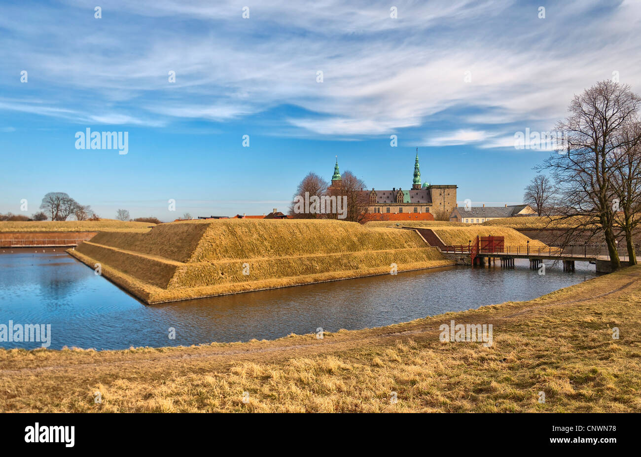 The renaissance Kronberg castle situated in the Danish town of Helsingor. Stock Photo