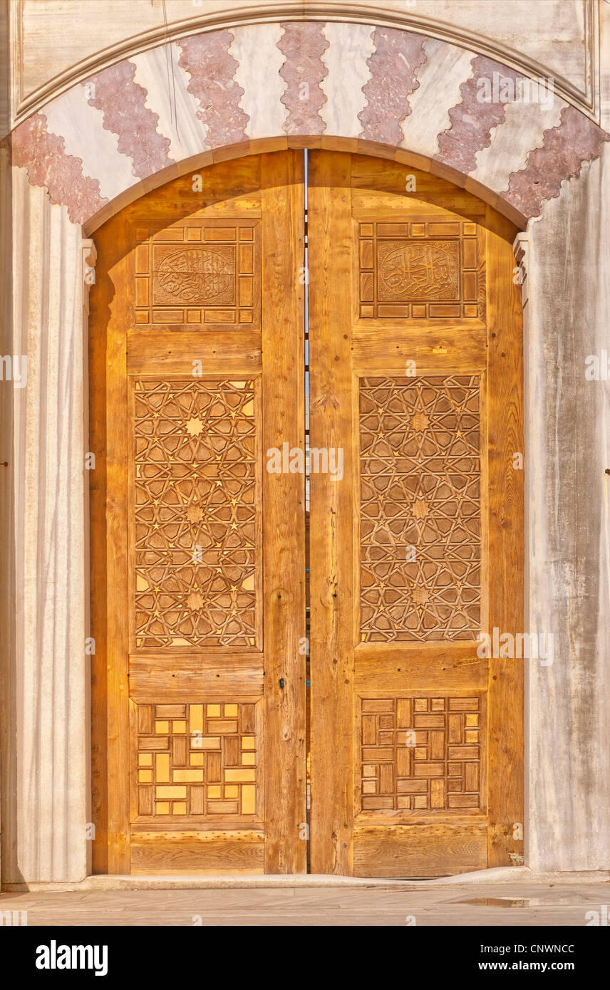 Old ornate wooden doors at the Suleiman mosque in istanbul Turkey. - Stock Image  sc 1 st  Alamy & Islamic Wooden Door Mosque Stock Photos u0026 Islamic Wooden Door Mosque ...