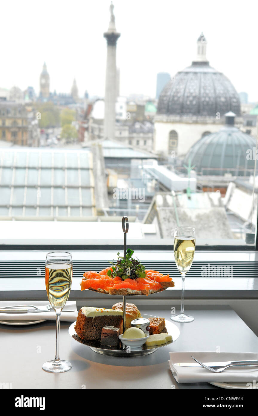 Traditional Afternoon Tea at The Portrait Restaurant, National Portrait Gallery, London, England, UK - Stock Image