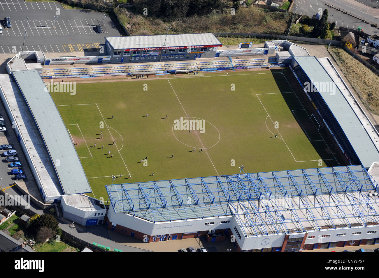 Aerial view of football match played at AFC Telford United stadium uk - Stock Image