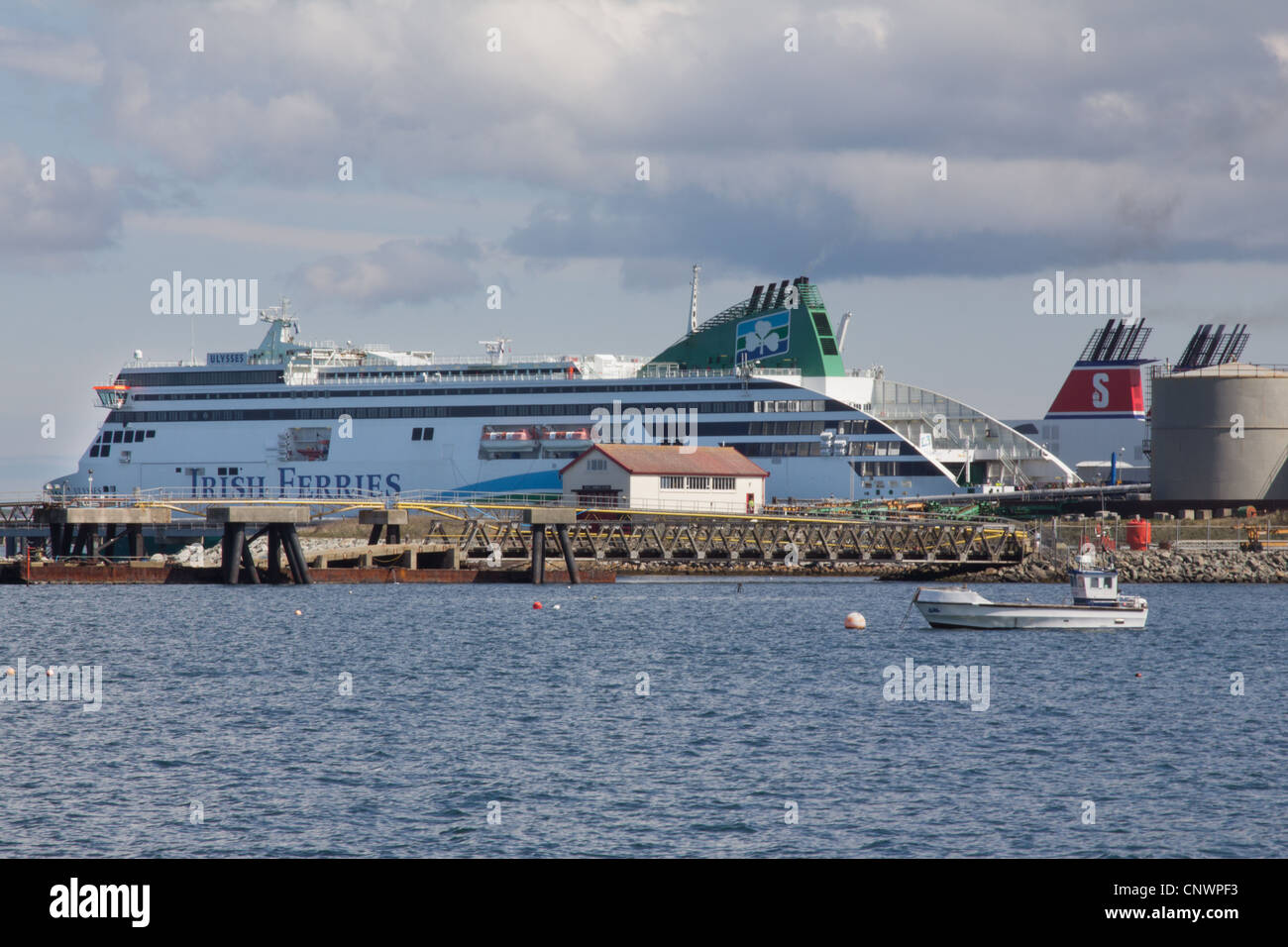Ferry To Ireland From Holyhead >> Irish Ferries Ulysses In The Harbour At Holyhead Anglesey Stock
