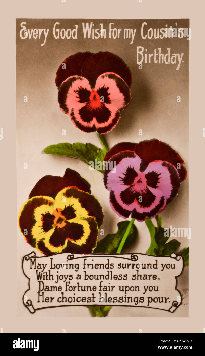 1920s Birthday Card For A Cousin In The Form Of Postcard Hand Painted Image Flowers With Verse