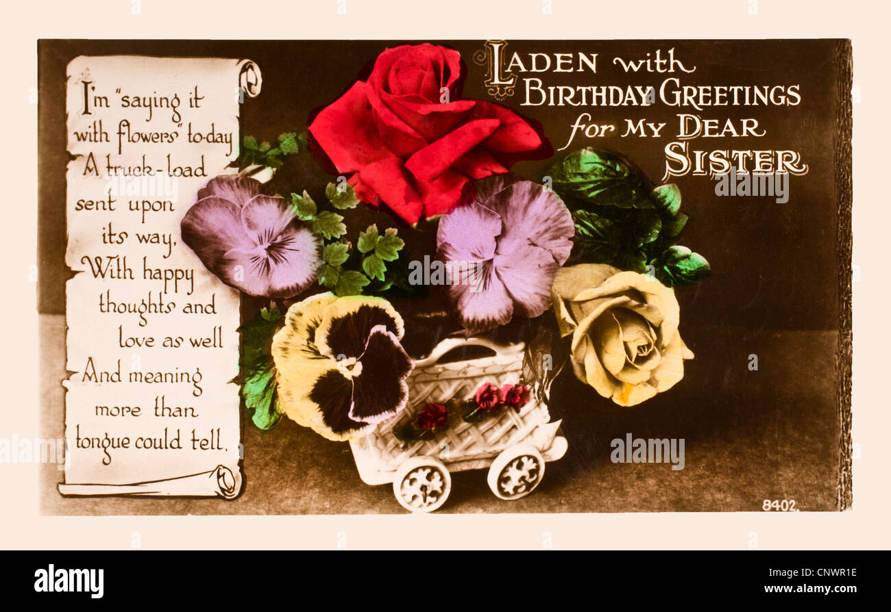 1920s Birthday Card In The Form Of A Postcard Hand Painted Image Flowers With Verse