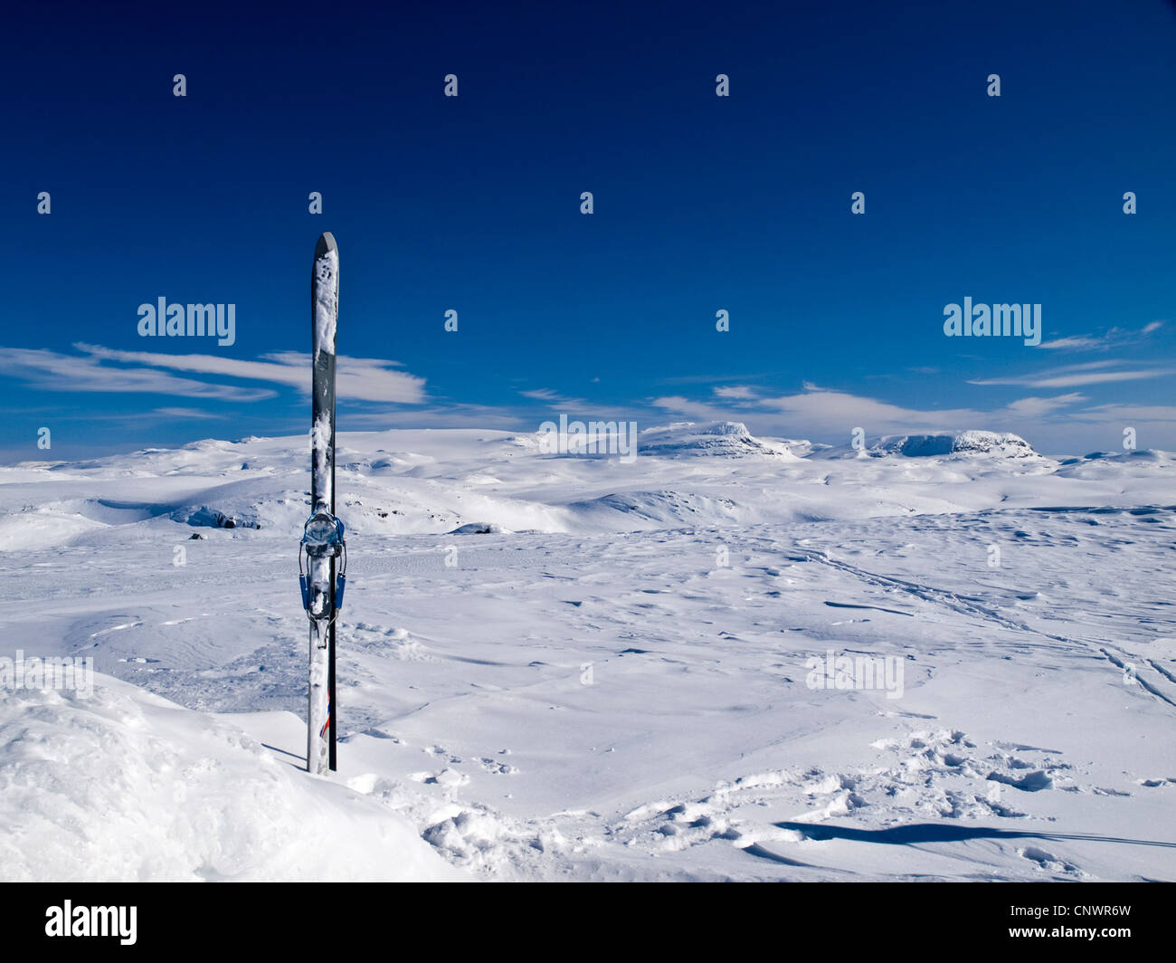 Pair of skis on a mountain top on the Hardanger plateau in Norway - Stock Image