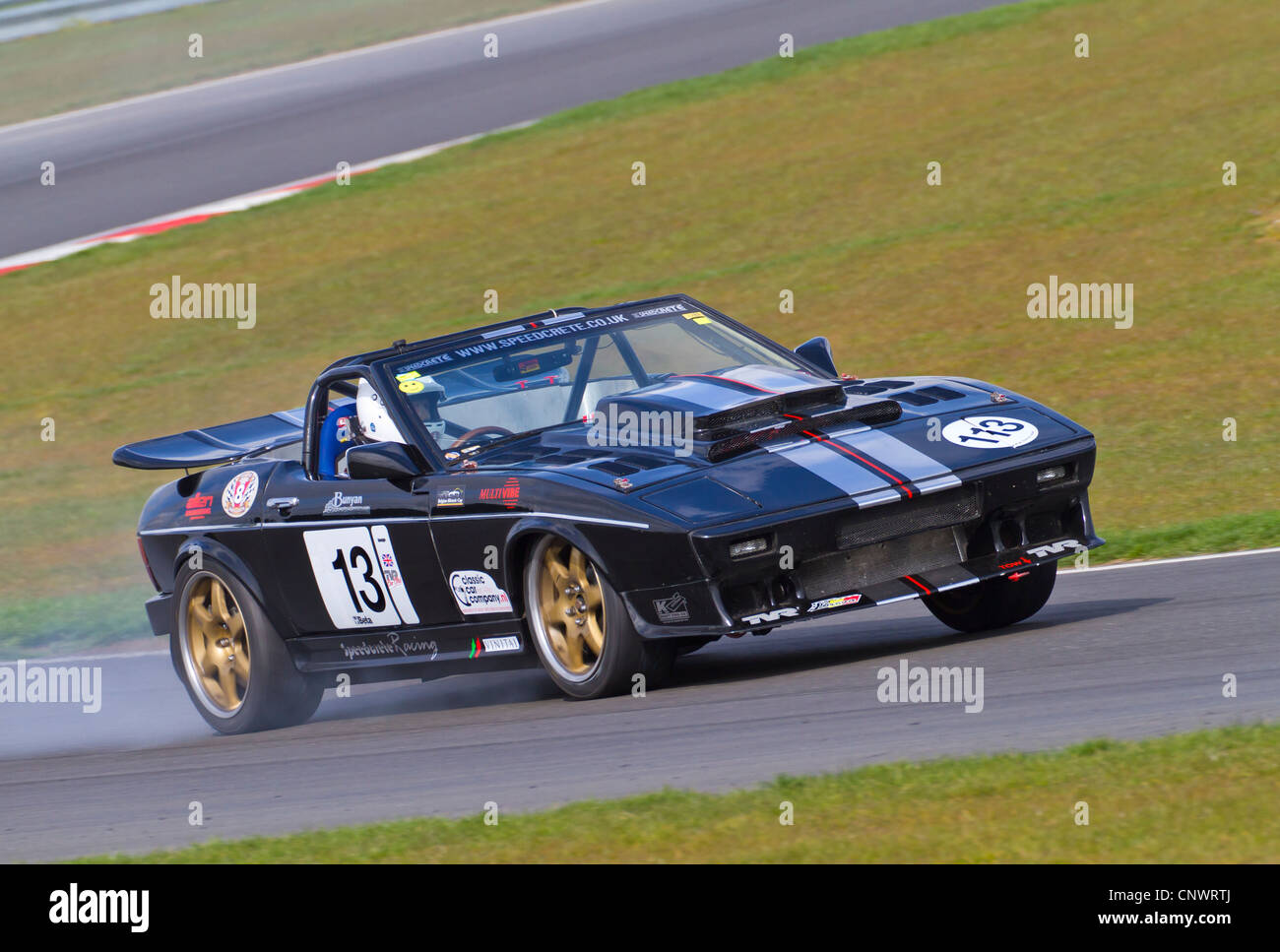 Peter Dod in a smoking TVR 450 during the CSCC HVRA V8 Challenge practice at Snetterton, Norfolk, UK. - Stock Image