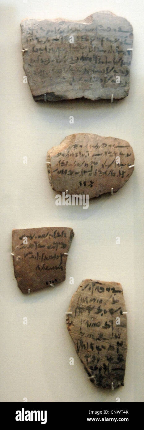 Egyptians ceramic ostraca in demotic script with references to the mummification and burial. Ptolemaic era. - Stock Image