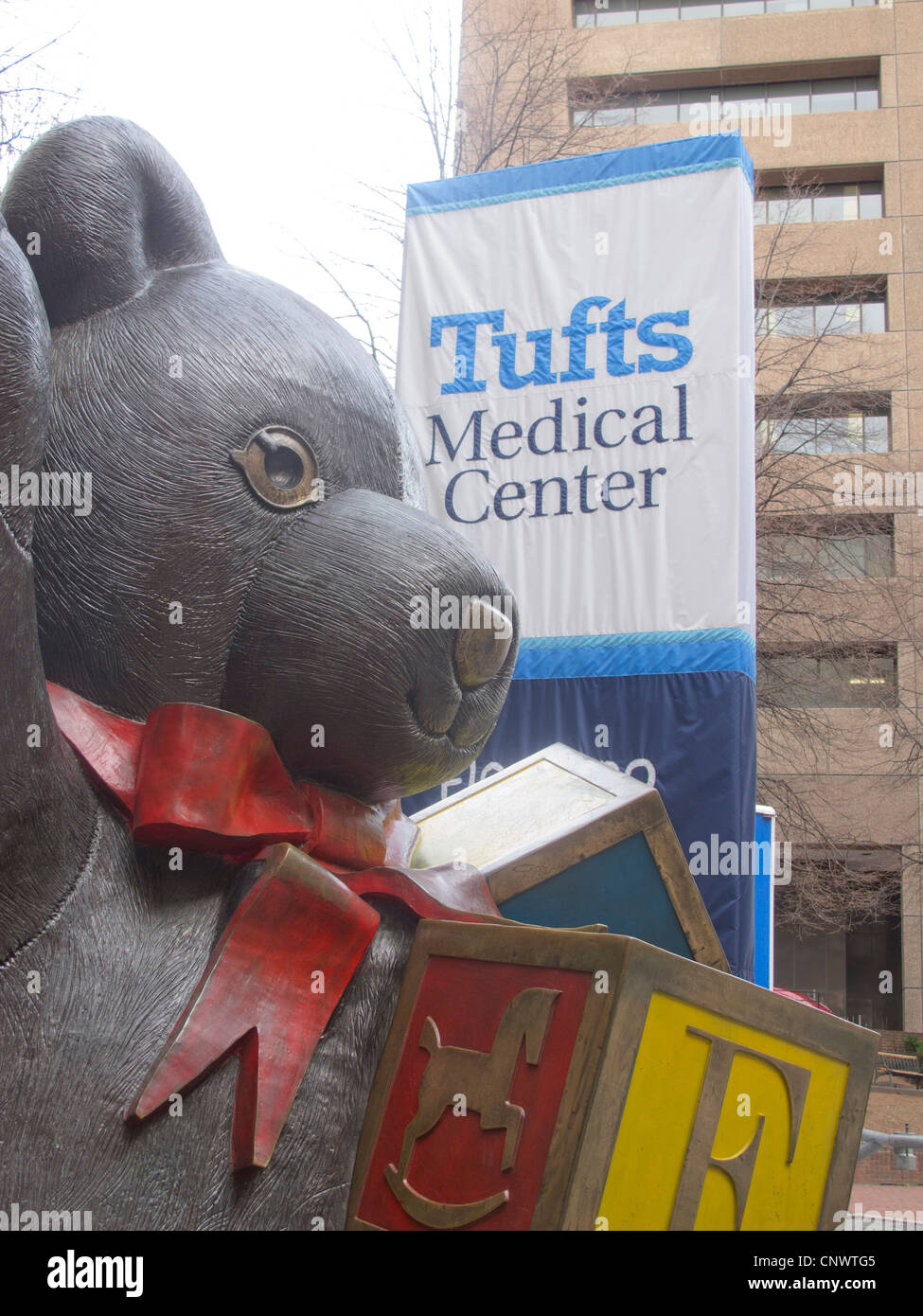Robert Shure's teddy bear statue outside Tufts Medical
