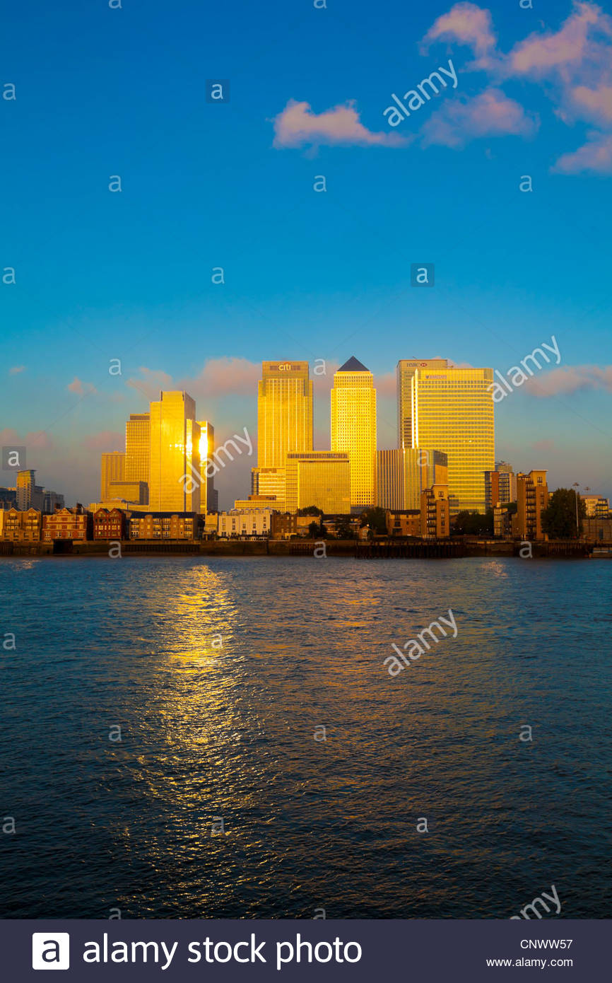 Skyscrapers in London Docklands at sunrise, London, United Kingdom - Stock Image
