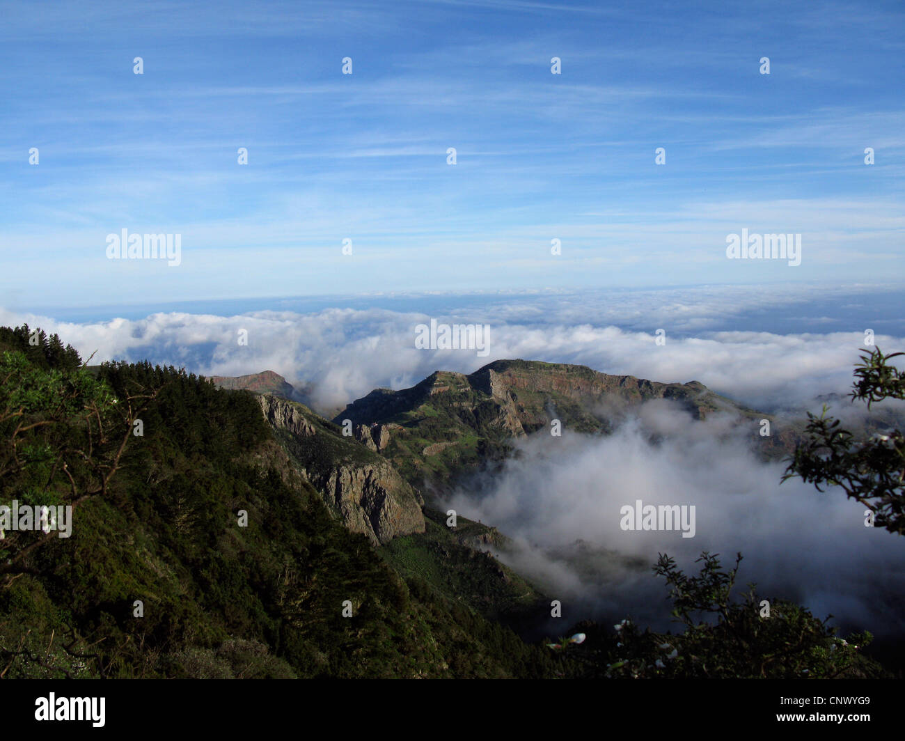 view from Mirador Tajaque of the cloud cover over the South of Gomera, Canary Islands, Gomera - Stock Image