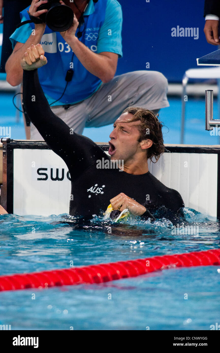 Ian Thorpe (AUS) reacts after winning the gold in the 200 meter free at the 2004 Olympic Summer Games. - Stock Image