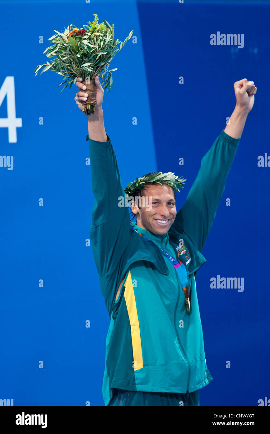 Ian Thorpe (AUS) winner of the gold in the 200 meter free at the 2004 Olympic Summer Games. - Stock Image