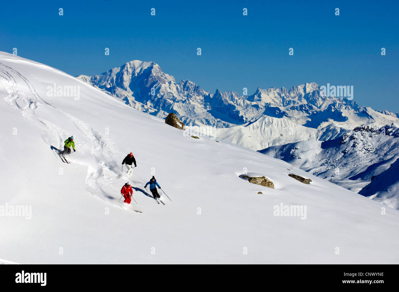 ski off piste, on the back the mont Blanc, France - Stock Image
