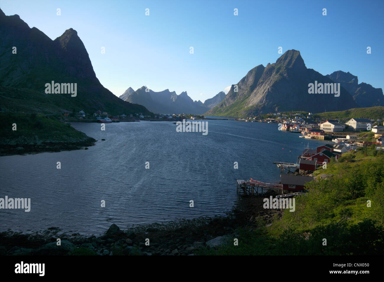 Reine and Olstinden at Reinefiord, Norway, Lofoten Islands Stock Photo