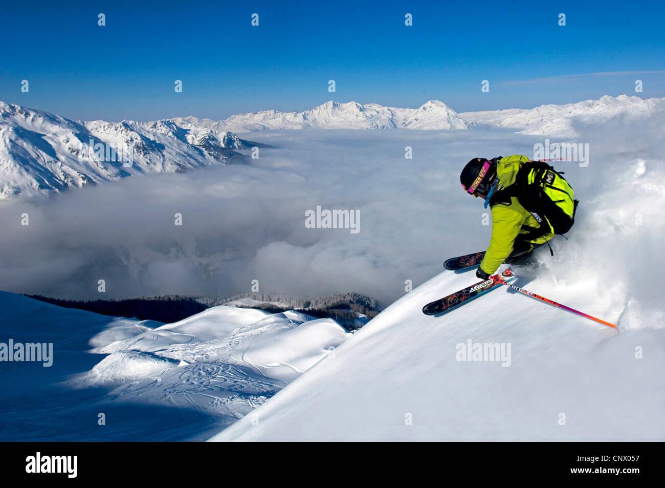 skier in Sainte Foy Tarentaise ski resort, north Alps mountains, France - Stock Image