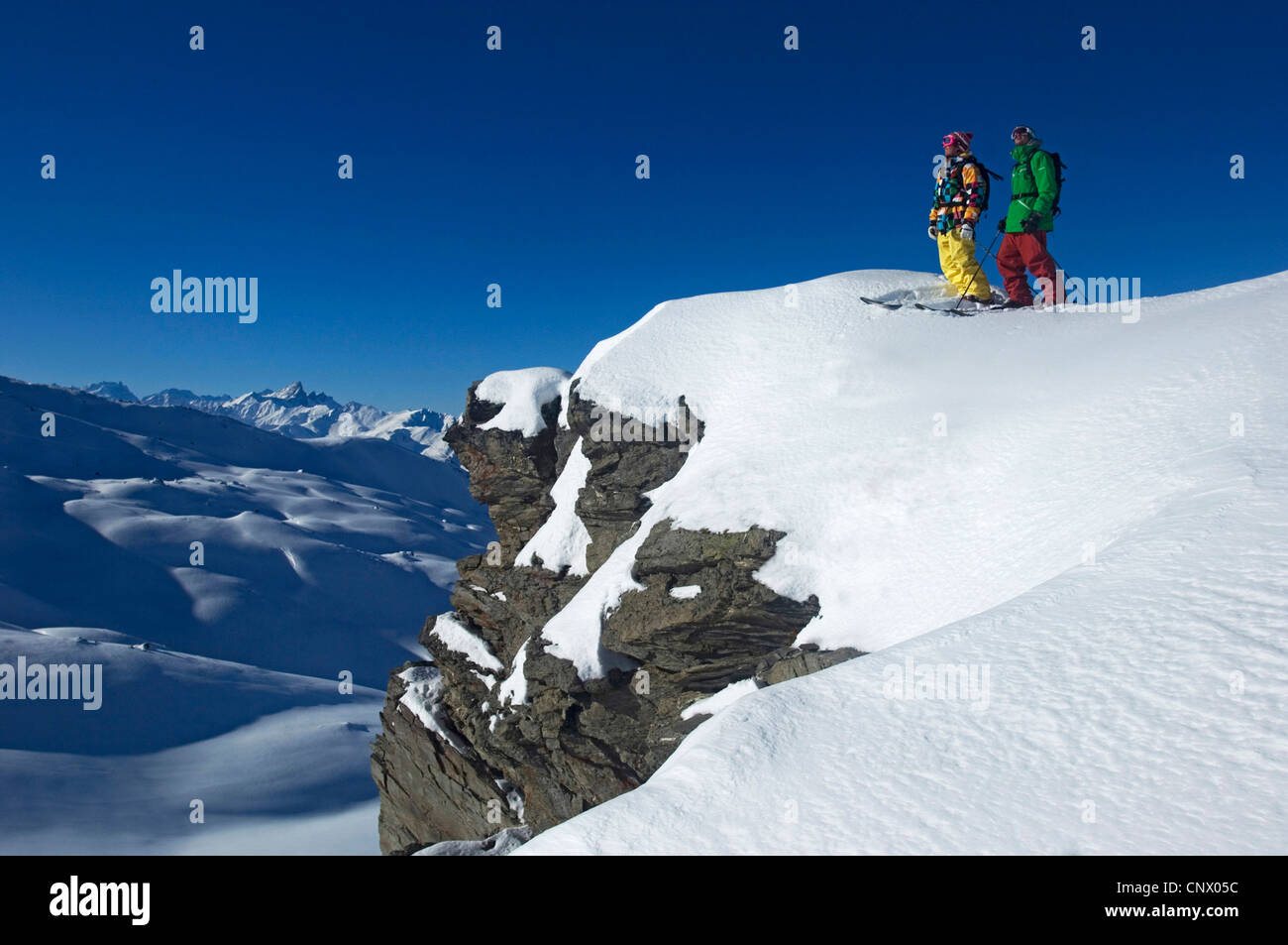 ski resort of Les M�nuires, north Alps mountain, France - Stock Image