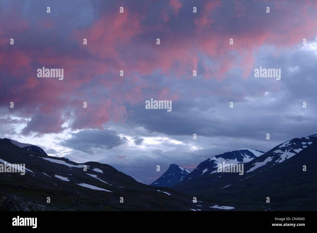 mountains in midnight sun, Sweden, Sarek National Park Stock Photo