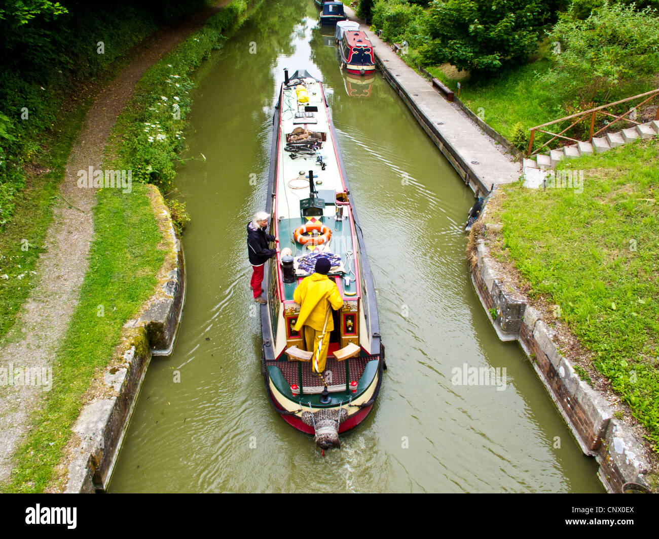 Narrowboats near Pewsey Wharf on the Kennet and Avon Canal in Wiltshire, England, UK - Stock Image