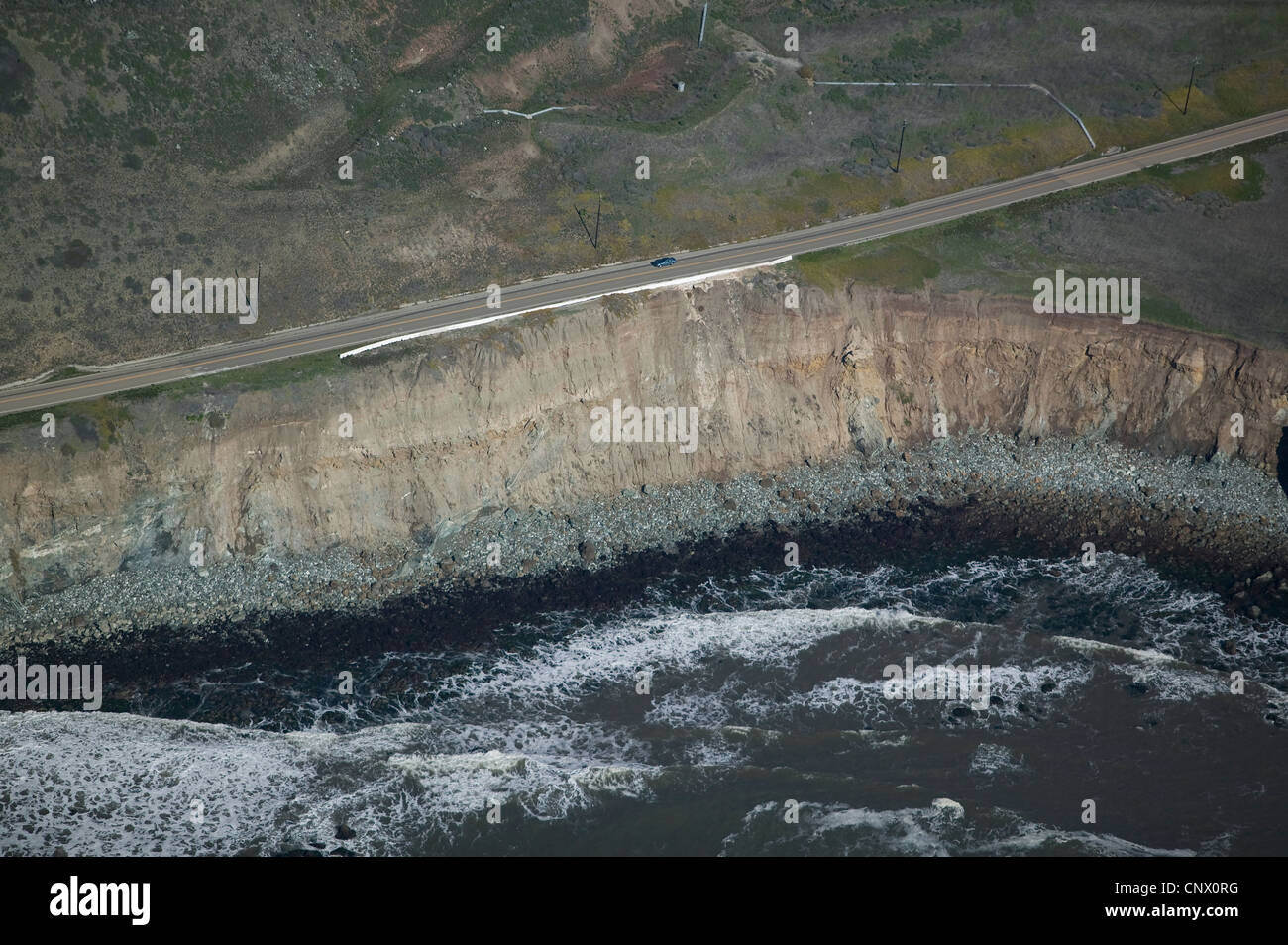 aerial photograph erosion highway one central coast California - Stock Image