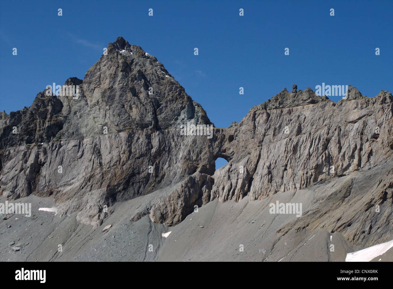 Glarus thrust in the Tschingelhoerner with Martinsloch, Switzerland - Stock Image