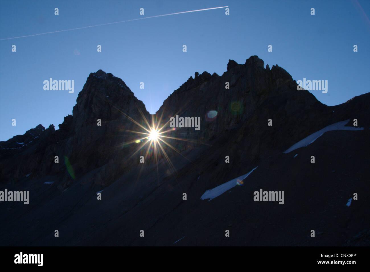 silhouette of Glarus thrust in the Tschingelhoerner with Martinsloch, Switzerland - Stock Image