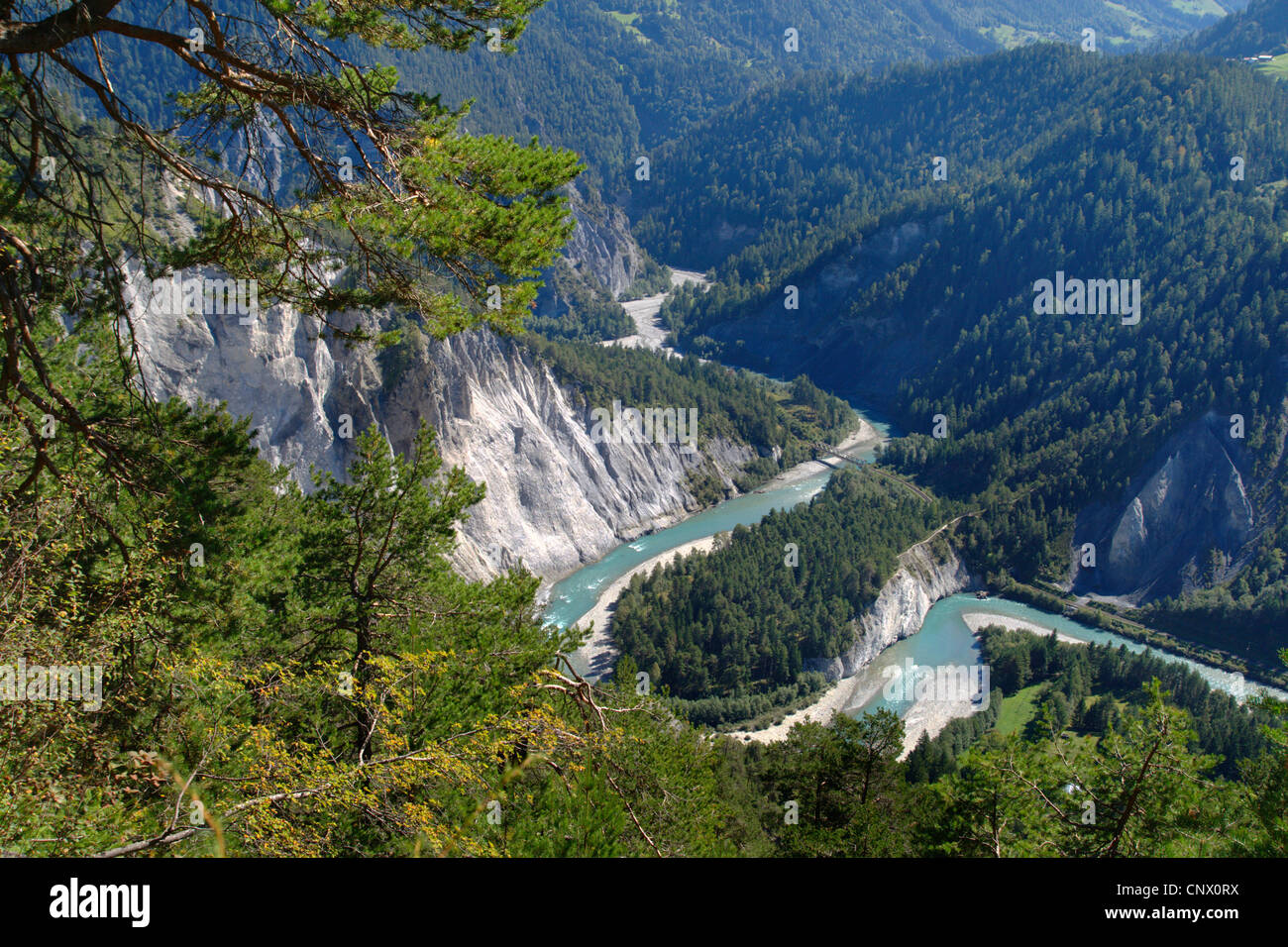 Rhine canyon at Films, Flimser Bergsturz, Switzerland Stock Photo